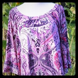 ZigZag Stripe Pink and Navy Paisley Print Top